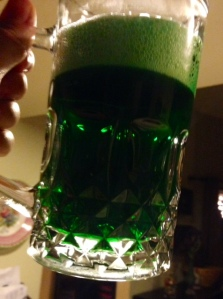 Green Beer for St. Patrick's Day - This is actually a Guinness Blond American Lager camouflaged in green.