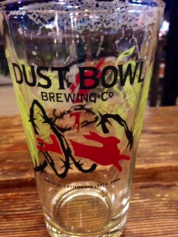 An Empty Glass of Hobo PIlsner from the Dust Bowl Brewing Company in Turlock, CA