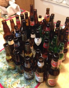 Collection of Bottles after a Beer tasting Party